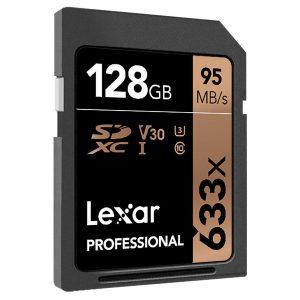 Lexar Professional 633x 128GB SDXC UHS-I Card.