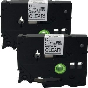 2PK Black on Clear Label Tape Compatible for Brother TZ 131 TZe 131 12mm P-Touch 8m ACD.auto