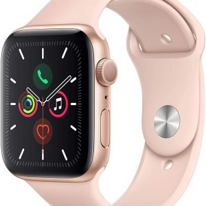 Apple Watch Series 5 Gold Aluminum Case with Pink Sport Band