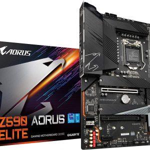 GIGABYTE Z590 AORUS Elite (LGA 1200/ Intel Z590/ ATX/Triple M.2/ PCIe 4.0/ USB 3.2 Gen2X2 Type-C/ 2.5GbE LAN/Gaming Motherboard)