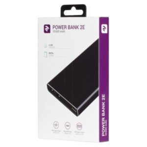 2Е Power Bank 10000mAh, Metal surface, DC 5V, 2.1A, black (2E-PB1002-BLACK)