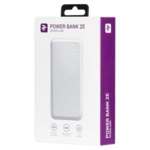 2Е Power Bank 20000mAh, DC 5V, 2.1A, Type-C, MicroUSB, USB-А, white (2E-PB2004-WHITE)