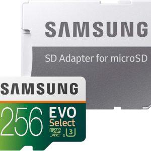 SAMSUNG EVO Select 256GB microSDXC UHS-I U3 100MB/s Full HD & 4K UHD Memory Card with Adapter (MB-ME256HA)