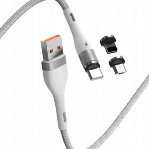 Кабель магнитный Baseus Zinc Magnetic Safe Fast Charging Data Cable USB to M+L+C 5A 1m Белый (CA1T3-B02)